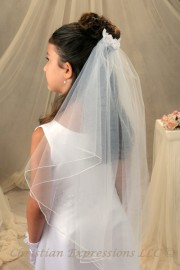 First Communion Comb Veil with Satin Flowers