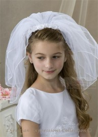 First Communion Headband Veil with Lace Flowers and Pearls