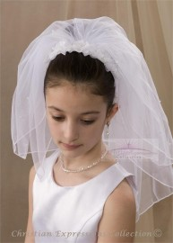 First Communion Headband Veil with Organza Bows