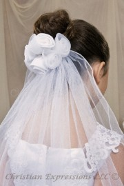 Clip on First Communion Veil with Roses