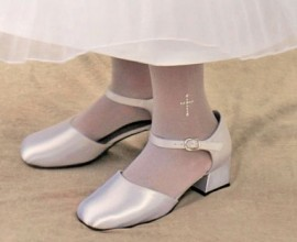 First Communion Tights with Pearl Cross