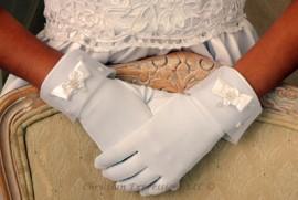 Gloves-Matte Satin w/Rosette & Pearls