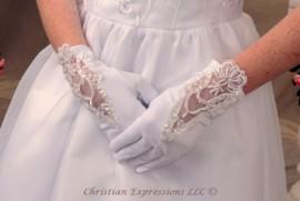Gloves-Matte Satin w/Lace & Organza