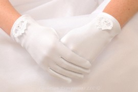 Satin First Communion Gloves with Irish Claddagh