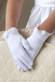 First Communion Gloves with Organza Cuff and Rosettes