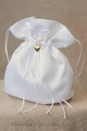 Satin First Communion Purse with Gold Puffed Heart