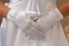 First Communion Gloves with Rhinestone Cross