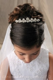 First Communion Tiara Crown Petite Pearls & Crystals