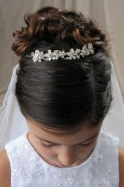 First Communion Tiara All Silver Flowers