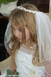 First Communion Tiara Veil with Crystals and Pearls