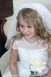 First Communion Headband Veil with  Crystals and Pearls