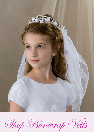 First Communion Bun Wrap Veils for Sale