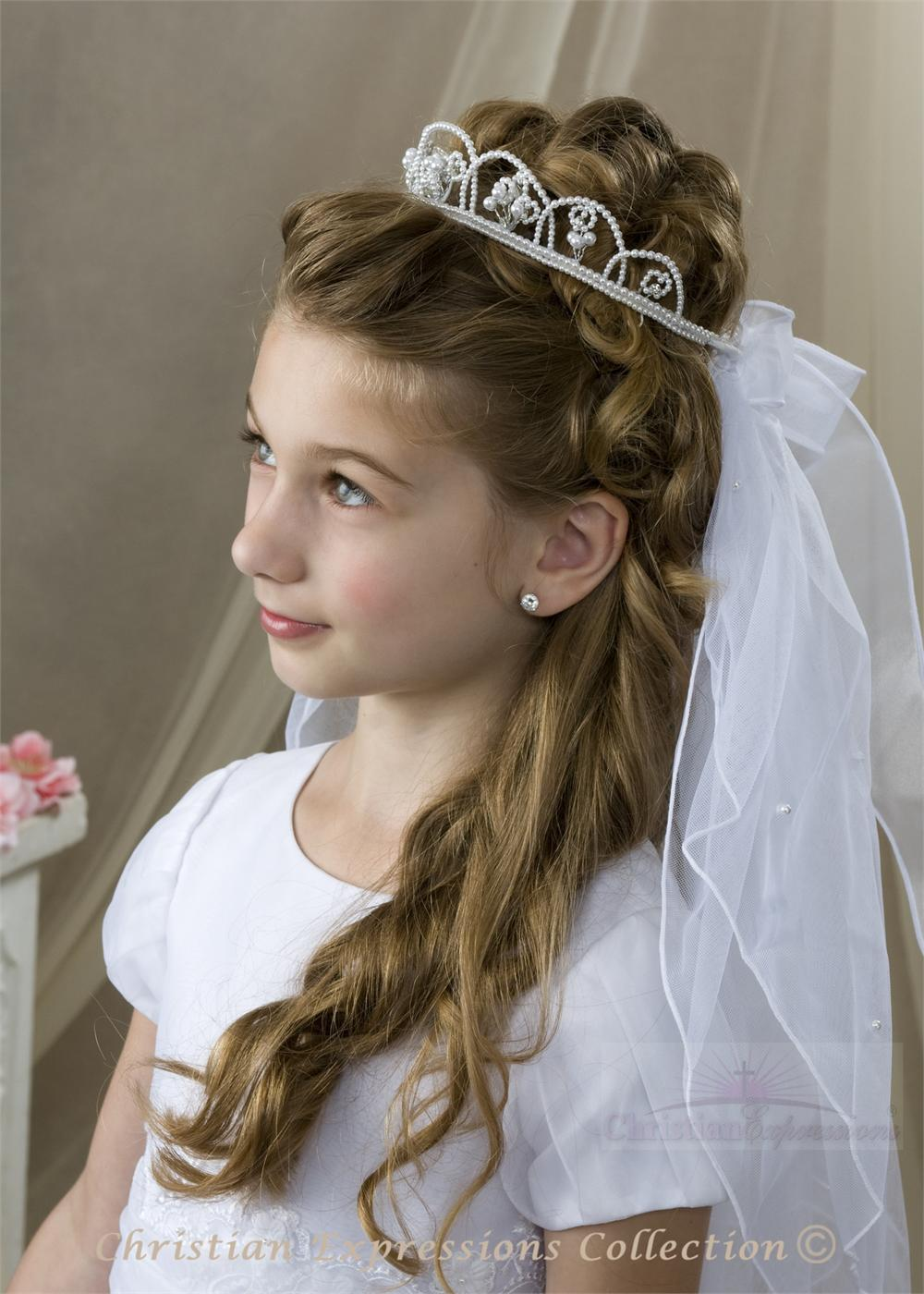 First Communion Veil With Pearl Crown Headpiece First
